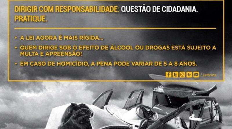 Secretaria da Justiça alerta sobre as consequências legais de misturar álcool e direção